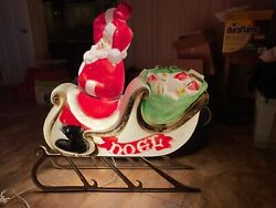Vintage 70s Empire Light Up Santa Sleigh Blow Mold 38x36 With Runners