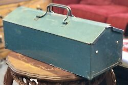 Antique 1960and039s Giller Tool Company Blue Metal Tool Box W/ Handles Vintage Chest