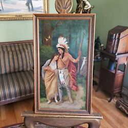 Antique Oil Painting-hiawathaandrsquos Wedding Journey- After Listed Artist Jean Ferris