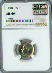 1978 Roosevelt Dime Ngc Ms66 90ft Mac 2nd Finest Grade Spotless 3000 In Ft .