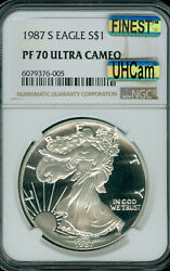 1987-s Proof Silver Eagle Ngc Pf70 Uhcam Mac Finest Grade And Mac Spotless .