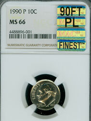 1990-p Roosevelt Dime Ngc Ms66 90ft Pl Mac Finest Mac Spotless 5000.00 In Ft
