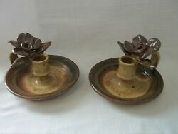 Set Of 2 Pottery Handcrafted And Signed Taper Candle Holders Earthtone Colors