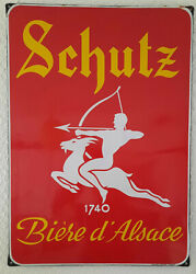 Antique Plate Sign Schutz Beer D'alsace E With S 18 7/8x27 3/16in 50s 45/50