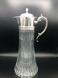 Vintage Glass And Silver Plate Italian Decanter Pitcher Carafe, Made In Italy, 14