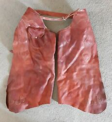 Vintage Thick Leather Western Wear Cowboy Work Ranch Rodeo Batwing Chaps