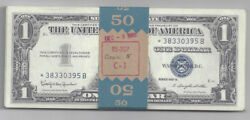 Pack Of 50 1957 Silver Certificate 1 Bills Still In Bank Strap Dated 12-8-1965