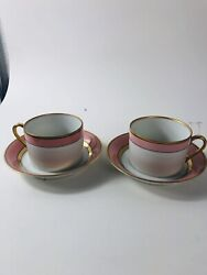 Two Fitz And Floyd Renaissance Cup And Saucers Peach/ Pink