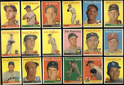 1958 Topps Baseball Partial Set 392/494 Vg To Ex Mays Clemente