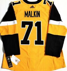 Nwt-pro-50 Evgeni Malkin Pittsburgh Penguins Gold Nhl Authentic Adidas Jersey