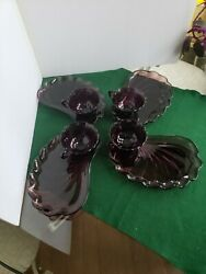 Vintage Lot Of 4 Hazel Atlas Moroccan Amethyst Snack Plates With 4 Scalloped Cup