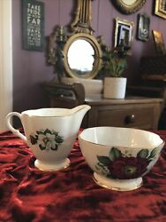 Clarence Bone China Sugar And Creamer White And Red Floral Numbered England