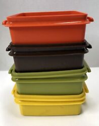 Vintage Tupperware Sandwich Keeper Container Set 4 Square Away Handles Usa Retro