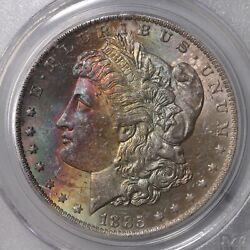 1885-o Morgan 1 Pcgs Cac Certified Ms64 Color Toned Obverse Silver Dollar