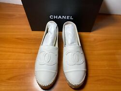 Espadrilles Lambskin White Size 38/8 Brand New W/ Box And Dust Bags