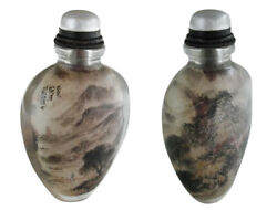 Snuff Bottle By Zhang Baotian Crystal With Gold Hair