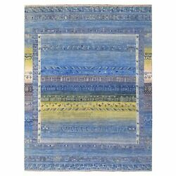 9and039x11and0398 Denim Blue Kashkuli Gabbeh Hand Knotted Shiny Wool Oriental Rug R67468