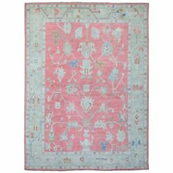 10and039x13and0395 Coral Color Hand Knotted Glimmery Wool Angora Oushak Rug R67439