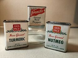Vintagefrench's Ground Red Pepperand Ann Page Turmeric/nutmeg Advertising Tins