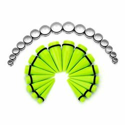 Cabbe Kallo 32pcs 00g-24mm Acrylic Tapers Big Gauges Ear Stretching Kit Green