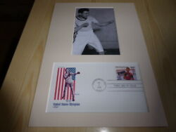 Eddie Eagan Boxing Olympic Photograph And Usa Fdc Mount Size A4