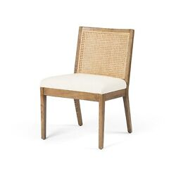 33 H Natural Hardwood Armless Dining Chair Woven Twine Cane Back White Linen