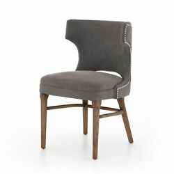 32 H Stylish Grey Cotton Chair Club Accent Chair Studded Button Trim Wood Legs