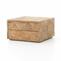 27 Square Cube Nesting Coffee Table Natural Pine Hardwood Rustic Hidden Storage