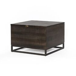 24 W Storage Table Box Rustic Vintage Hardwood Dark Brown Small Chest Square