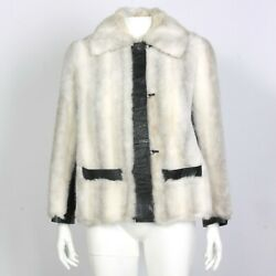 Vintage 80s White Faux Fur Jacket Burandand039s Cottagecore Punk Rock Size Medium 330