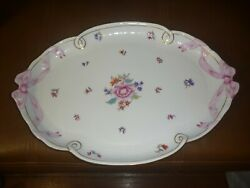 Vintage Herend Hungary Hand Painted Porcelain Tray / Platter Floral And Ribbon