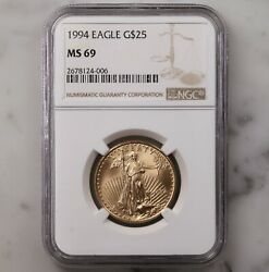1994 American Gold Eagle G25 Ngc Certified Ms69 Better Date