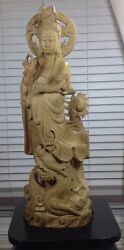 Antique Wood Hand Carved 1917and039s Guan Yin Goddess Buddha Statue W/ Base 26 Tall