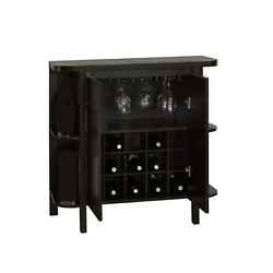 Home Bar with Glass and Bottle Storage in Espresso Finish