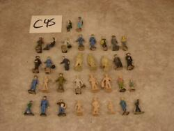 C45 Vintage Lot Of 34 O Scale Plastic Painted And Unpainted People Figures