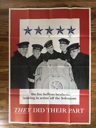 Original Poster Wwii Sullivan Brothers They Did Their Part World War 2 Large Xl