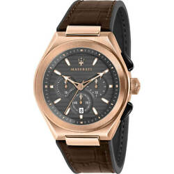 Maserati Menand039s Watch Triconic Chronograph Grey Dial Brown Strap R8871639003
