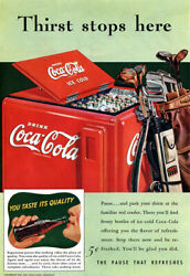 Coca Cola Golfing Golf Clubs Bag Ice Chest Cooler Coke Thirst Stops Here 1941 Ad