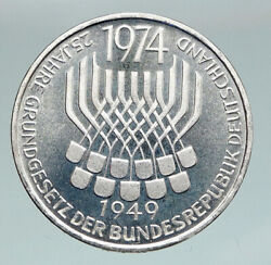 1974 F Germany 25 Years Of German Federal Constitution Law Silver 5 Mark I91168