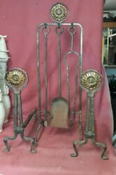 Arts And Crafts Wrought Iron And Bronze Fireplace Set Andirons Tools