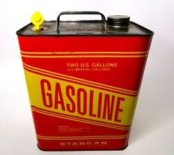 Stancan 2 Gallon Vintage Pre Banned Metal Vented Red Yellow Gas Gasoline Can Usa