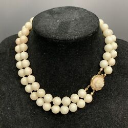 Vintage 11.00 Mm Angel Skin Coral Bead Necklace With 14k Gold Clasp 102.44 Grams