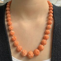 Vintage 14.25 Mm Round Beaded Carved Coral Necklace With Gold Clasp 72 Grams