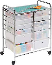 Honey Can Do Rolling Storage Cart And Organizer W/ Plastic Drawers