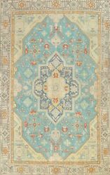 Vintage Geometric Tebriz Overdyed Handmade Area Rug Evenly Low Pile Wool 9and039x11and039