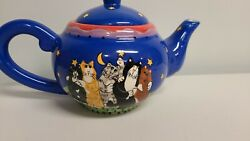 New Candace Reiter Starry Nights 2001 Catzilla 6 Cup 48 Oz Teapot