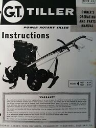 George Garden Tool G.t. Walk-behind Rotary Tiller 1627 1629 Owner And Parts Manual