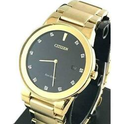 Authentic Citizen Au1062-64g Wristwatch Mens Gold Free Shipping No.5041