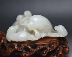 8.8cm China Antique Old Jade Brave Troops Statue Natural Hetian Jade Lion Statue