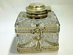 Antique Early 1880's Boin Taburet Paris Sterling Silver And Cut Crystal Inkwell